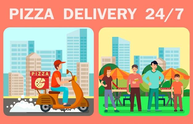 Vinte e quatro horas de entrega de pizza vector banner web Vetor Premium