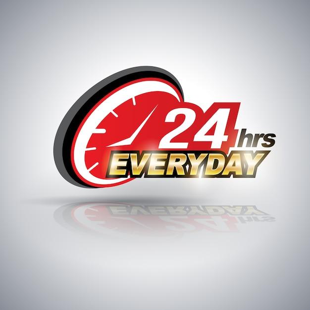 Vinte e quatro horas todos os dias. Vetor Premium