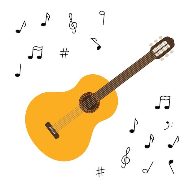 Violão de madeira clássica. string arrancou instrumento musical. pequeno violão ou cavaquinho. rock ou equipamento de jazz. adesivo com contorno. Vetor Premium
