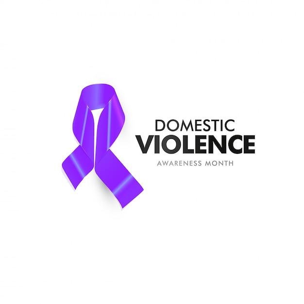 Violência doméstica e agressão. bandeira de apoio à vítima abusada em casa. fita roxa isolada contra abuso doméstico Vetor Premium
