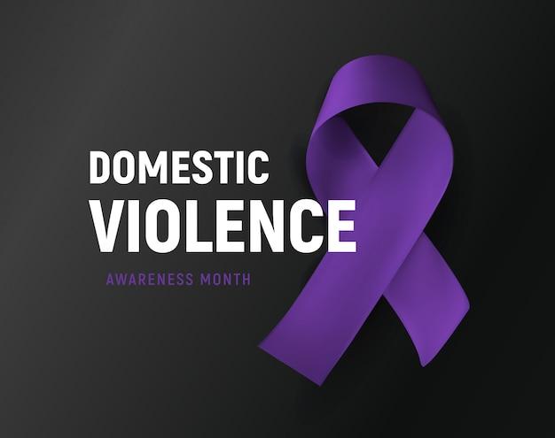 Violência doméstica. fita roxa contra cartaz de abuso em casa. suporte a vítimas de abuso Vetor Premium