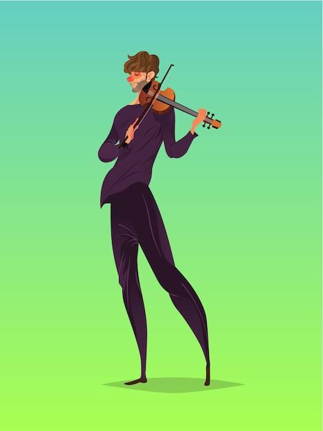 Violinista Vetor Premium