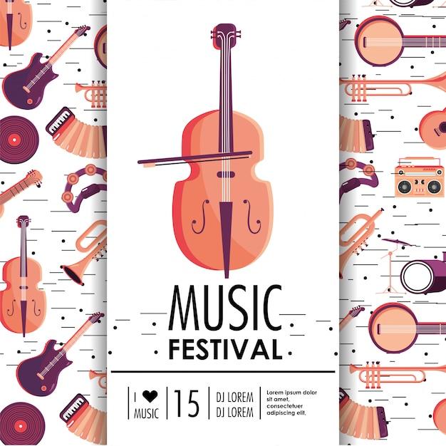 Violino e instrumentos para o evento do festival de música Vetor Premium