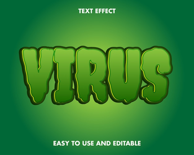 Virus corona text effect editável e fácil de usar Vetor Premium