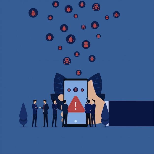 Vírus móvel comercial detectado on-line e a equipe discute como removê-lo. Vetor Premium