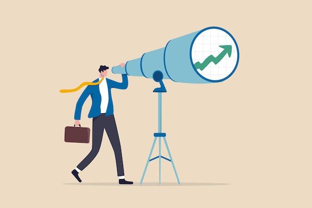 Visão de negócios e investimento para ver o futuro retorno ou capacidade de ver oportunidades de trabalho e conceito de carreira Vetor Premium