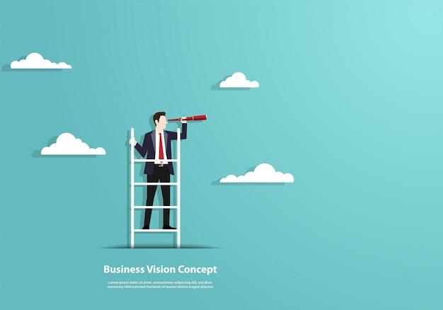 Visão de sucesso com caráter de empresário e telescópio Vetor Premium