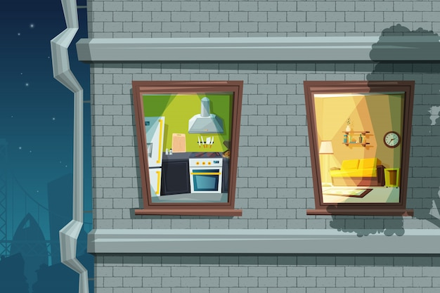 Visão noturna da fachada de casa viva com várias janelas Vetor Premium