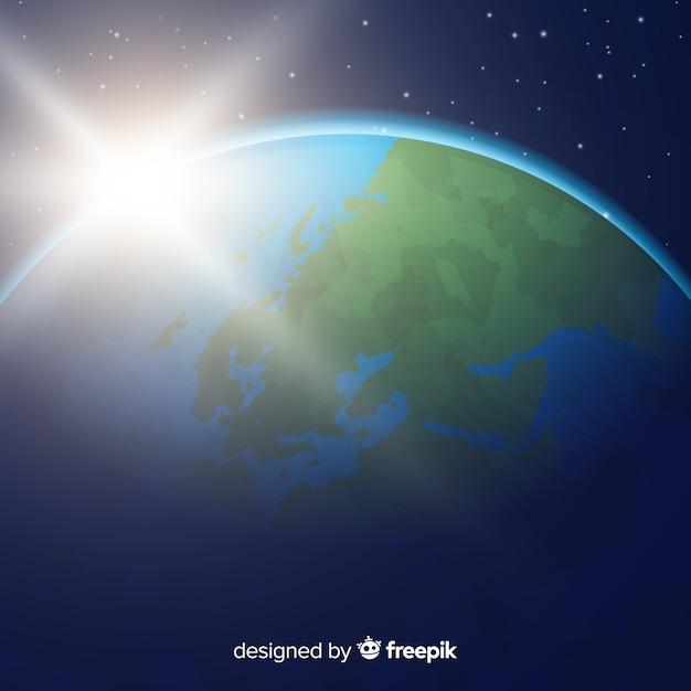 Visão noturna do planeta terra com design realista Vetor grátis