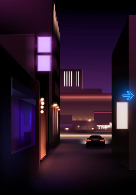 Visão noturna realista da rua com luzes e carro Vetor Premium