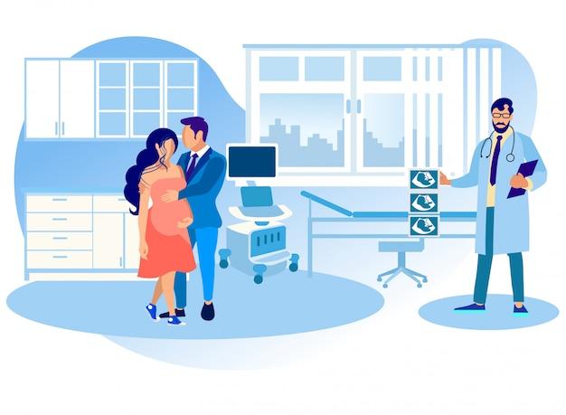 Visita da mulher grávida ao hospital para a ultrassonografia da barriga Vetor Premium