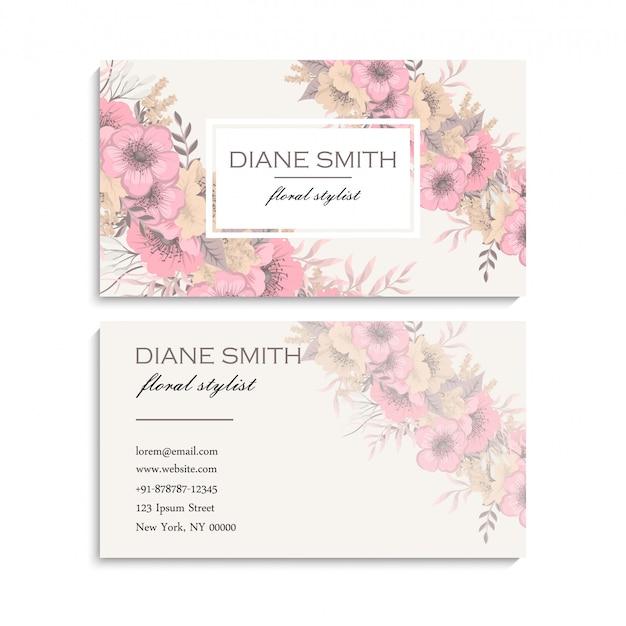 Visite cartão com flores Vetor grátis