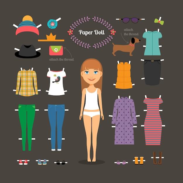 Vista a boneca de papel com cabeça grande. calças e vestidos, sapatos e chapéus, moda. ilustração vetorial Vetor grátis