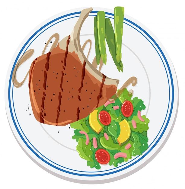 Vista aérea de comida no prato Vetor grátis