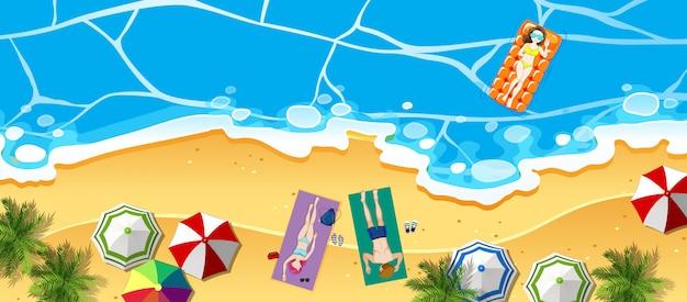 Vista aérea, de, praia, ilustração Vetor grátis