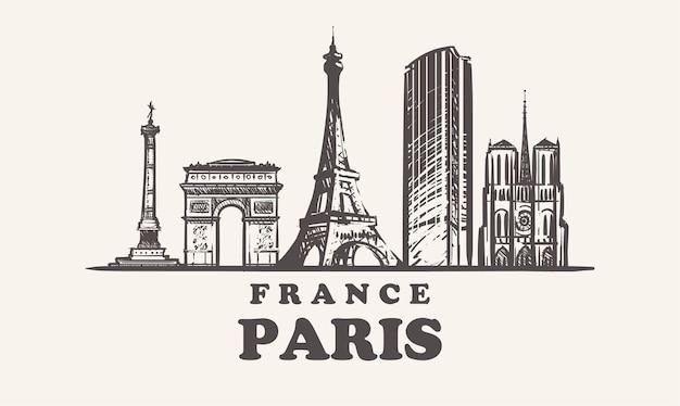 Vista da cidade de paris, frança Vetor Premium