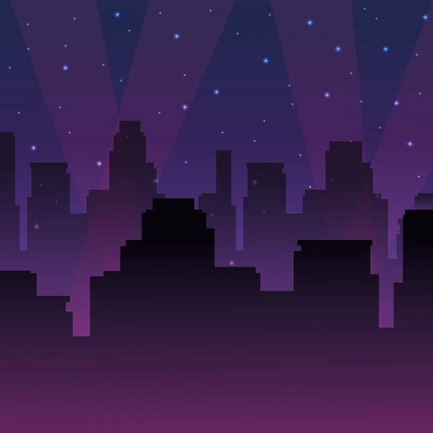 Vista da cidade urbana à noite Vetor Premium