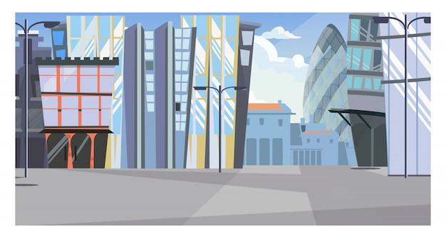 Vista da cidade urbana com ilustração de edifícios altos Vetor grátis