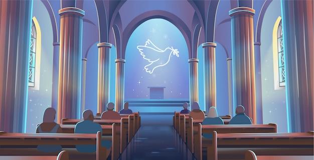 Vista da igreja catedral para dentro. interior da igreja católica com pessoas e uma pomba da paz. ilustração vetorial de desenho animado Vetor Premium