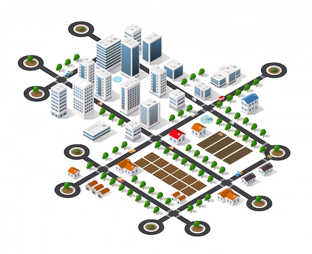 Vista da paisagem urbana do topo Vetor Premium