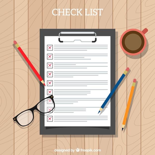 Vista de cima da lista de verificação e material de escritório Vetor grátis