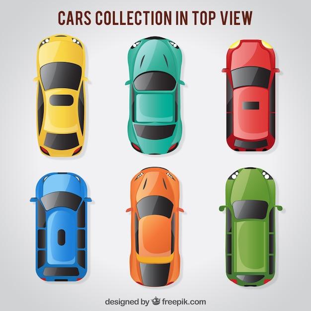 Vista de cima de seis carros brilhantes Vetor grátis