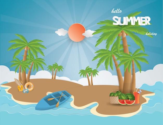 Vista, de, férias verão, com, suco fruta Vetor Premium