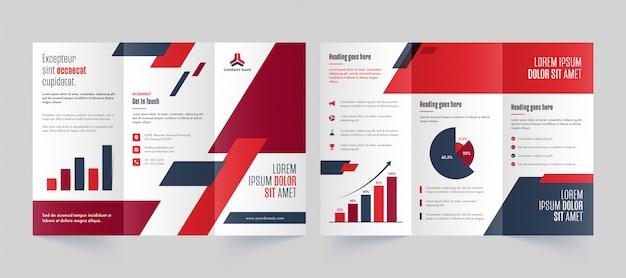 Vista de frente e verso da página negócios dobrável em três partes brochura, modelo ou design de folheto. Vetor Premium
