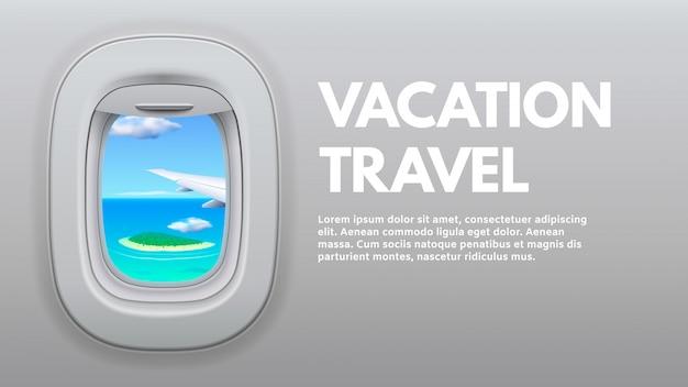 Vista de olho de boi de avião. asa de avião na janela, avião de ar do viajante e férias viajando ilustração do conceito Vetor Premium