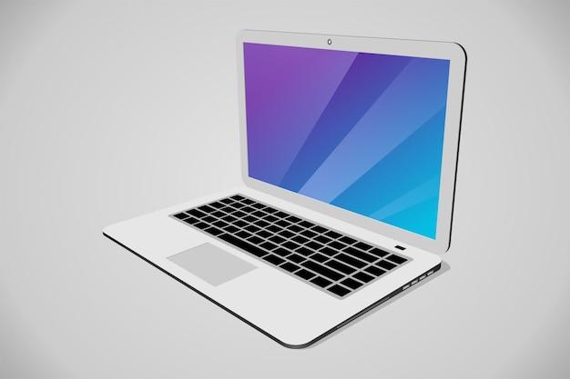 Vista em perspectiva do laptop Vetor Premium