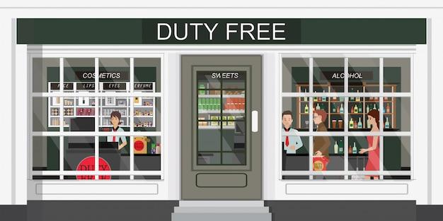 Vista frontal da loja duty-free e pessoas que compram cosméticos, álcool e alimentos baratos. Vetor Premium