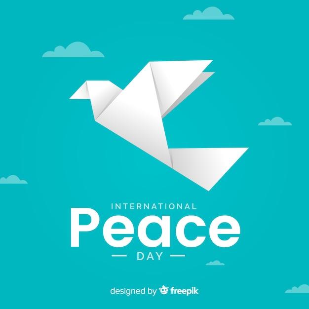 Vista frontal de dia de paz de origami Vetor grátis