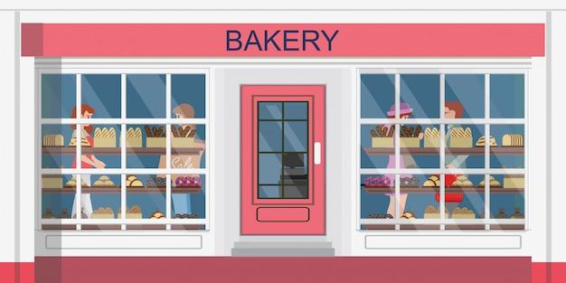 Vista frontal do edifício da padaria ou loja de padaria e pessoas às compras na padaria. Vetor Premium