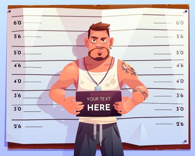Vista frontal do mugshot criminal na escala de medição Vetor grátis