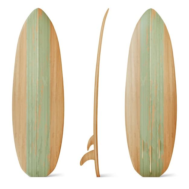Vista frontal, lateral e traseira da prancha de surf em madeira. realista de prancha de madeira para atividade de praia de verão, surfando nas ondas do mar. equipamento de esporte de lazer isolado no fundo branco Vetor grátis