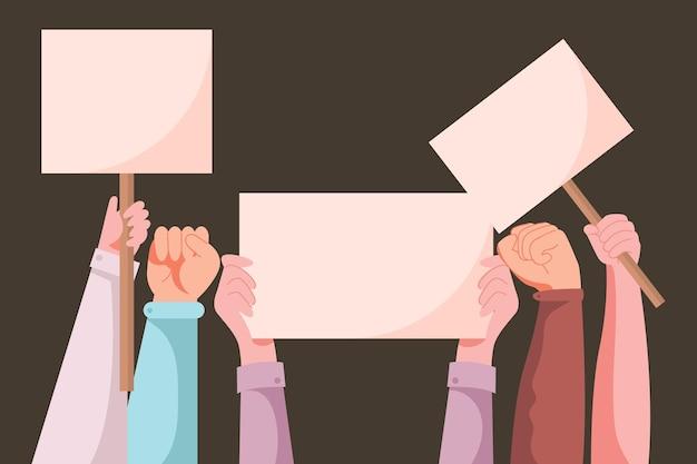 Vista frontal mãos segurando cartazes Vetor grátis