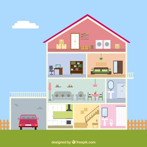 Vista interior da casa com garagem baixar vetores gr tis for Casa con garage laterale