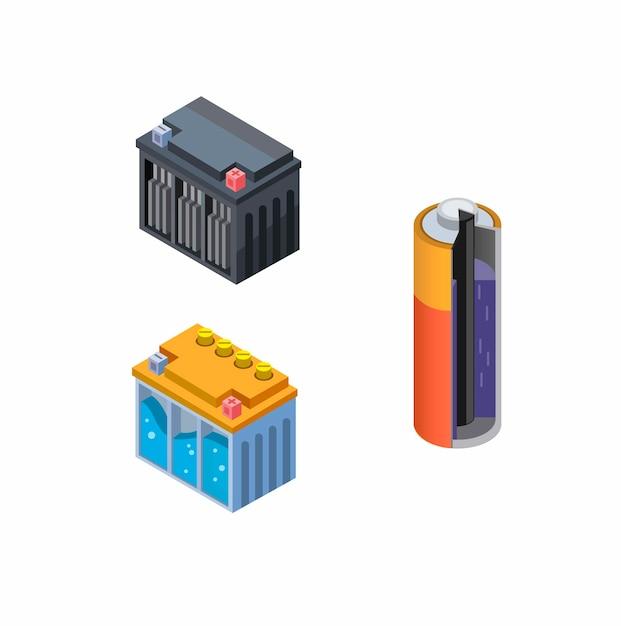 Vista interna da bateria em célula seca, conjunto de ícones accu wet e dry collection. conceito em desenho isométrico em fundo branco Vetor Premium