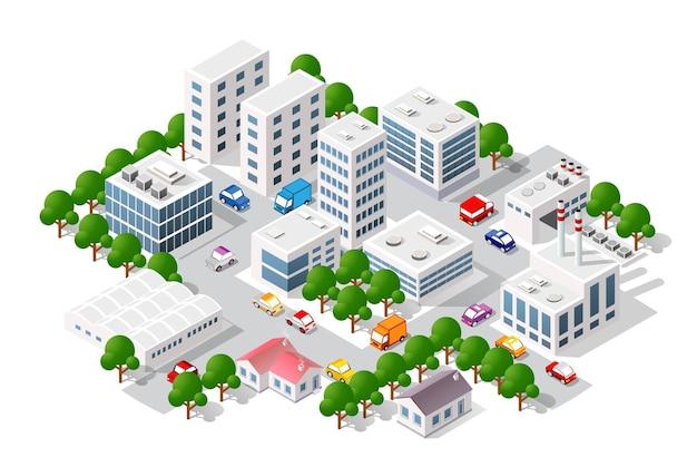 Vista isométrica da cidade. coleção de casas ilustração 3d módulo bloco bloco distrito parte Vetor Premium