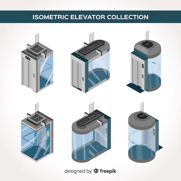 Vista isométrica da coleção de elevador moderno Vetor grátis