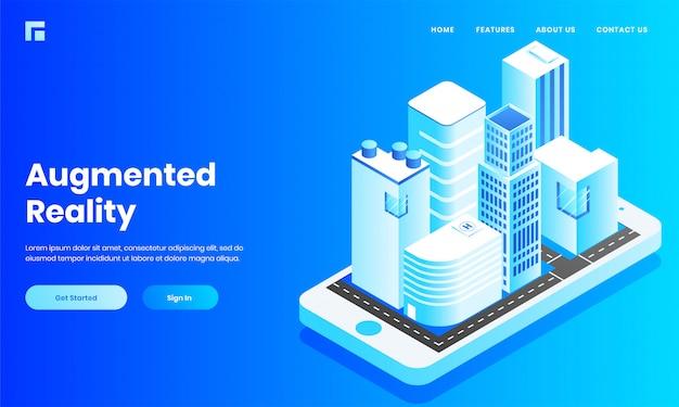 Vista isométrica da construção civil, casa e hospital como aplicativo móvel no smartphone para site de realidade aumentada ou design de página de destino. Vetor Premium