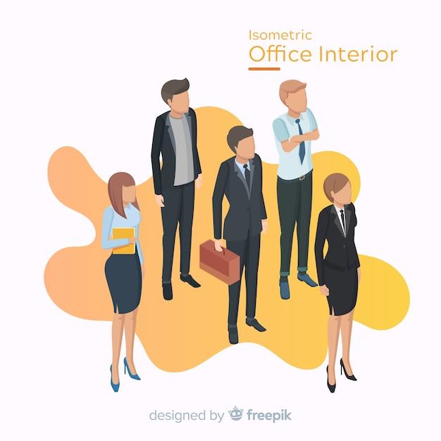 Vista isométrica de trabalhadores de escritório com design plano Vetor grátis