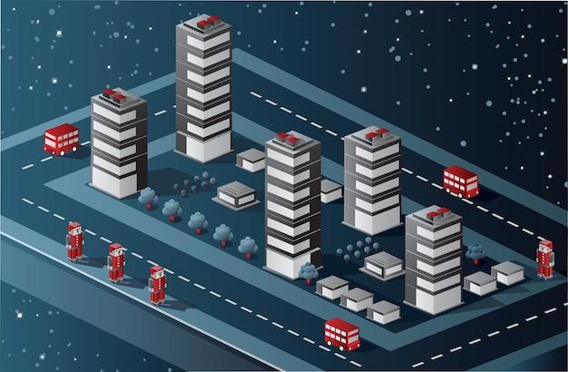 Vista isométrica do bairro urbano no céu estrelado Vetor Premium