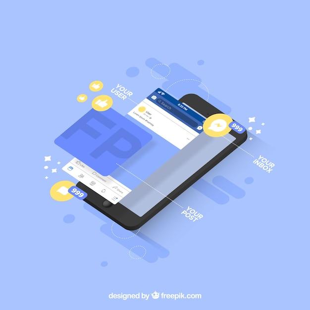 Vista isométrica do telefone móvel com notificações do facebook Vetor grátis