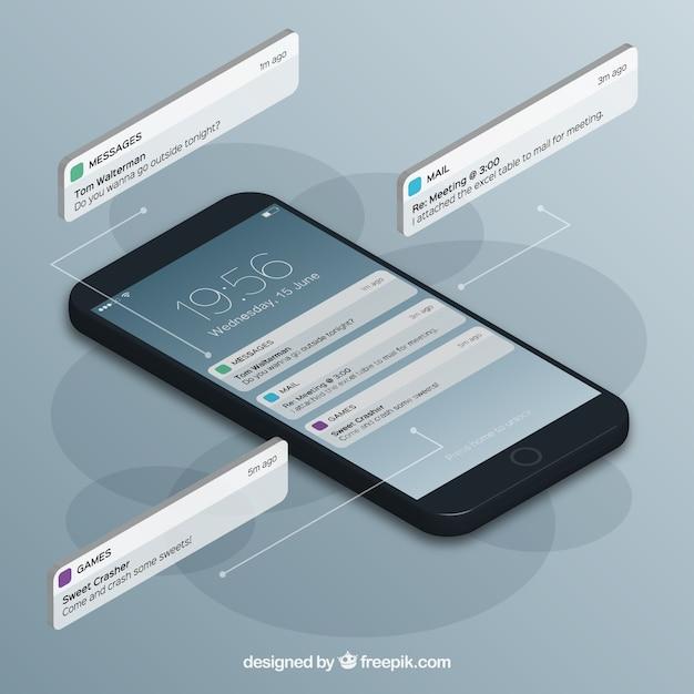 Vista isométrica do telefone móvel com post do instagram Vetor grátis