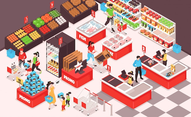 Vista isométrica interior de supermercado com frutas legumes supermercado pão peixe carne prateleiras geladeira clientes caixa Vetor grátis