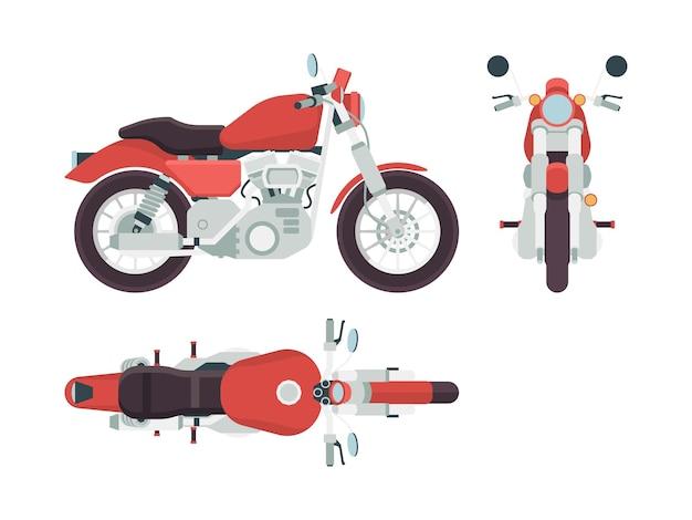 Vista lateral da motocicleta. ciclo transporte liberdade moto rota estilo veículo Vetor Premium