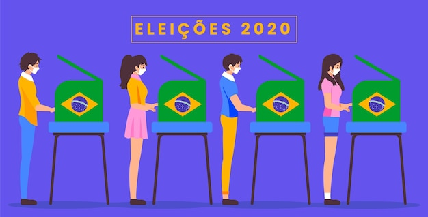 Vista lateral do povo brasileiro votando e usando máscara médica Vetor Premium