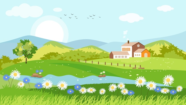 Vista panorâmica da aldeia de primavera Vetor Premium
