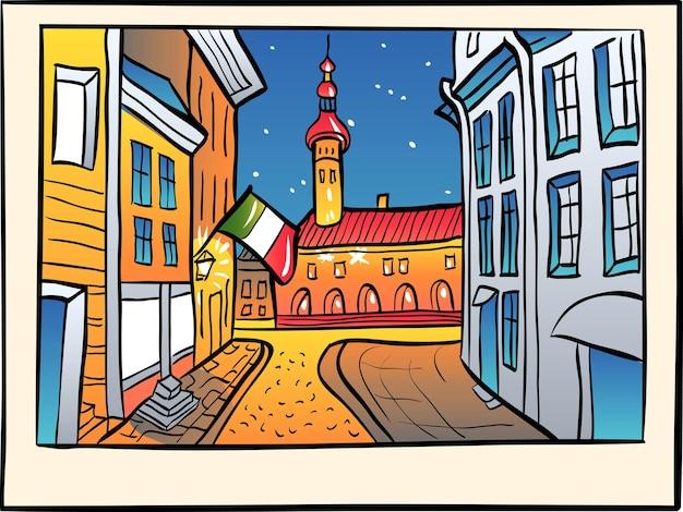 Vista panorâmica da câmara municipal na cidade velha medieval, em estilo de desenho. Vetor Premium